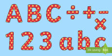 Red and Yellow Stars Small Lowercase Display Lettering