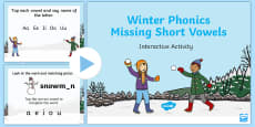 Winter Phonics Missing Short Vowels Interactive PowerPoint