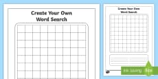 * NEW * Blank Word Search Activity Sheet