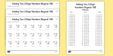 Adding Two 2 Digit Numbers Beyond 100 Activity Sheet