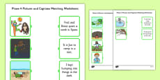 Phase 4 Pictures and Captions Matching Activity Sheets
