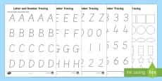 Letters Numbers and Shapes Tracing Activity Sheets