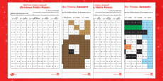 Christmas Maths Mosaic Activity Sheets Arabic/English