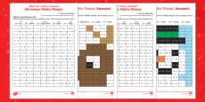 Christmas Maths Mosaic Activity Sheets Arabic/English