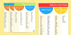 Adjective Word Bank Reference Sheets