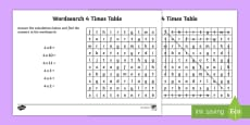 Multiplication 4 Times Tables Wordsearch Activity Sheet