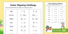 Easter Rhyming Challenge Activity Sheet