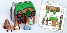 Goldilocks and the Three Bears Cottage Paper Model