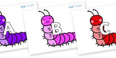 A-Z Alphabet on Caterpillars