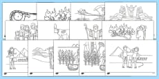 Life of Moses Story Colouring Sheets