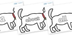 100 High Frequency Words on White Dog to Support Teaching on Brown Bear, Brown Bear