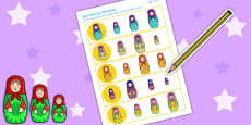 Russian Doll Size Matching Worksheets