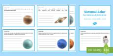 Sistemul solar - Completează cartonașele informative