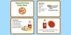 Making Pitta Pizza Recipe EYFS Recipe Cards