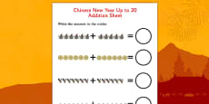 Chinese New Year Story Up to 20 Addition Sheet
