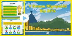 PwyntPŵer Gemau Olympaidd Rio 2016 CA2 PowerPoint Welsh / Cymraeg