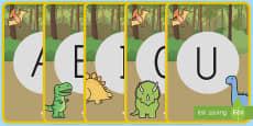 Tarjetas de fonemas - vocales: Los dinosaurios
