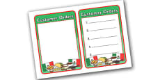 Mexican Restaurant Role Play Note Pad