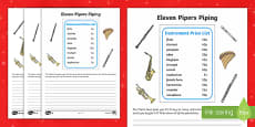 Eleven Pipers Piping Activity Sheets