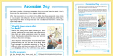 KS2 Ascension Day Differentiated Comprehension Go Respond  Activity Sheets