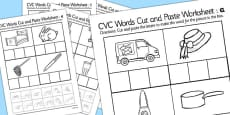 CVC Words Cut and Paste Worksheet Pack with British Sign Language