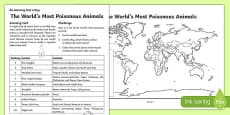 The World's Most Poisonous Animals Activity Sheet