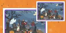 Halloween Scene Word Mat Polish Translation