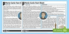 Marie Curie Fact Sheet