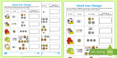 * NEW * Check Your Change Activity Sheet