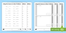 KS1 No Exchange Arithmetic Content Practice Using the Inverse to Solve Problems Activity Sheets
