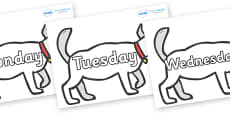 Days of the Week on White Dog to Support Teaching on Brown Bear, Brown Bear