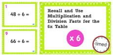 Multiplication and Division Facts for the 6 Times Table PowerPoint Test