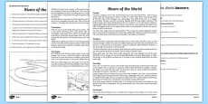 Rivers of the World Reading Comprehension Activity