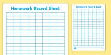 Editable Homework Record Chart