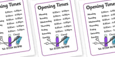 Hairdressers / Salon Role Play Opening Times