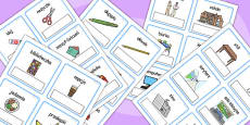 Polish Everyday Objects at School Editable Cards