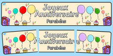 French Happy Birthday Display Banner Portuguese Translation
