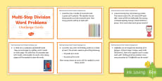 KS2 Multi-Step Division Word Problems Maths Challenge Cards