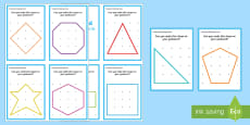 Geoboard 2D Shapes Challenge Cards