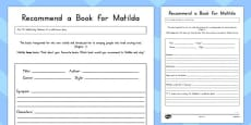 Recommend a Book for Matilda Activity Sheet to Support Teaching on Matilda