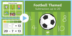 Football Themed Subtraction to 20 PowerPoint