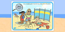 Phase 4 Tricky Words Beach Scene Magnifying Glass Activity Sheet