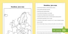 România, țara mea Fișă de lucru