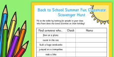 Back to School Summer Fun Classmate Scavenger Hunt