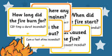 Great Fire of London Question Cards Romanian Translation
