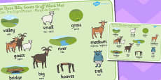 The Three Billy Goats Gruff Word Mat Romanian Translation