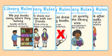 Library Rules Display Posters Illustrations Romanian Translation