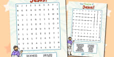 The Miracles of Jesus Bible Stories Differentiated Wordsearch