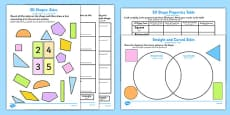Properties of 2D Shapes Activity Sheets Arabic Translation