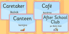School Room Display Signs EAL Czech Version